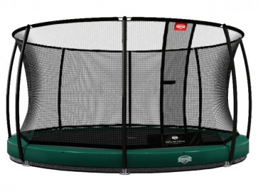 Trampolina BERG InGround Elite+ 430 Tattoo z siatką T-series zielona